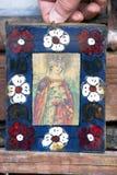 Pictogrammen in de oude tempel Stock Foto