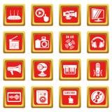 Pictogrammen de van verschillende media van Internet geplaatst rode vierkante vector Stock Foto's