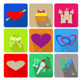 Pictogrammen die voor de Dag van Valentine worden geplaatst s Royalty-vrije Stock Afbeeldingen