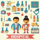 Pictogrammen en karakters op het medische thema Stock Foto's
