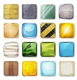 Pictogrammen en Knopen voor Mobiel App en Spel Ui worden geplaatst die Royalty-vrije Stock Fotografie