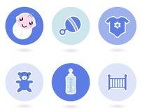 Pictogrammen en voorwerpen voor babyjongen Royalty-vrije Stock Afbeelding