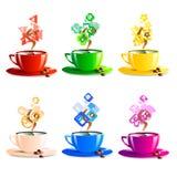 Pictogrammen geplaatst de kleur van de kopkoffie vectorillustratie Stock Afbeeldingen