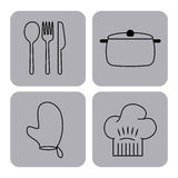 Pictogrammen geplaatst het koken lessen Royalty-vrije Stock Afbeeldingen
