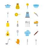 Pictogrammen geplaatst het koken lessen Stock Foto