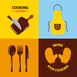 Pictogrammen geplaatst het koken lessen Royalty-vrije Stock Foto's