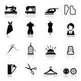 Pictogrammen geplaatst het Naaien en manier Royalty-vrije Stock Foto's