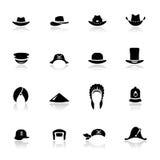 Pictogrammen geplaatst hoeden Stock Afbeelding