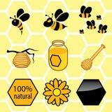 Pictogrammen geplaatst honing Stock Fotografie