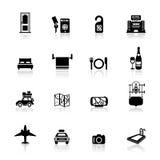 Pictogrammen geplaatst Hotel en reis Stock Foto