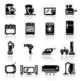 Pictogrammen geplaatst huistoestellen Stock Foto's
