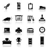 Pictogrammen geplaatst kantoorbenodigdheden Royalty-vrije Stock Afbeeldingen
