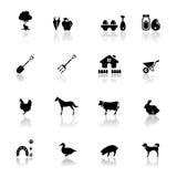 Pictogrammen geplaatst landbouwbedrijf Stock Foto's