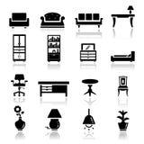 Pictogrammen geplaatst meubilair Stock Foto's