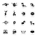 Pictogrammen geplaatst monsters en virus Stock Afbeeldingen