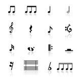 Pictogrammen geplaatst muzieknota's Stock Foto