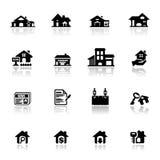 Pictogrammen geplaatst onroerende goederen Stock Foto
