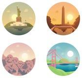 Pictogrammen geplaatst oriëntatiepunten en culturen Stock Foto