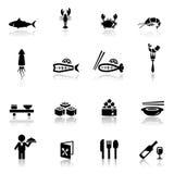 Pictogrammen geplaatst overzees voedsel Royalty-vrije Stock Foto