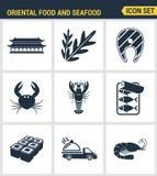 Pictogrammen geplaatst premiekwaliteit van oosters voedsel en zeevruchtensushibroodje die het menu van Japan koken Moderne vlakke Royalty-vrije Stock Afbeelding
