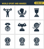 Pictogrammen geplaatst premiekwaliteit van Sport en van de toekenningstrofee overwinningskampioenschap Moderne vlakke het ontwerp Stock Afbeeldingen