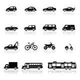 Pictogrammen geplaatst vervoer Stock Foto