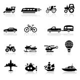 Pictogrammen geplaatst vervoer royalty-vrije stock foto