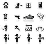 Pictogrammen geplaatst wet en rechtvaardigheid royalty-vrije stock afbeeldingen