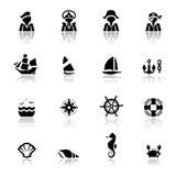 Pictogrammen geplaatst Zeevaart Stock Foto