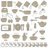Pictogrammen het koken Stock Afbeeldingen