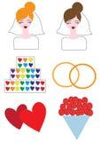 Pictogrammen lesbisch huwelijk Stock Afbeeldingen