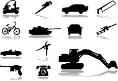 Pictogrammen. Machines & technologieën Stock Afbeeldingen