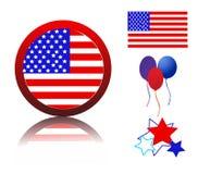Pictogrammen met betrekking tot Amerikaans patriottisme Stock Foto