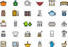 Pictogrammen met betrekking tot de keuken Stock Foto