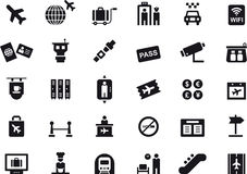 Pictogrammen met betrekking tot luchthavens en reis Royalty-vrije Stock Foto