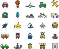 Pictogrammen met betrekking tot vervoer Royalty-vrije Stock Foto's