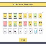 Pictogrammen met emoties Royalty-vrije Stock Afbeelding