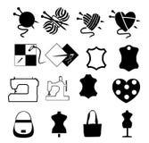 pictogrammen met het begonnen naaien en breien Royalty-vrije Stock Foto's