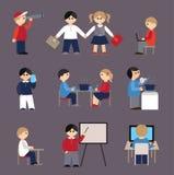 Pictogrammen met mensen en studenten worden geplaatst die stock illustratie