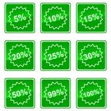 Pictogrammen met percenten Royalty-vrije Stock Foto