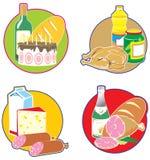 Pictogrammen met voedsel en dranken. Stock Afbeeldingen