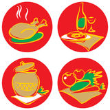 Pictogrammen met voedsel en dranken. Stock Foto's
