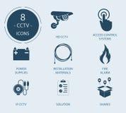 Pictogrammen op een thema - Videotoezicht, veiligheid Stock Foto