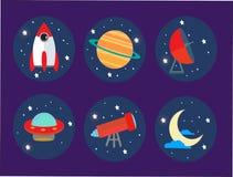 Pictogrammen op het ruimtethema Stock Fotografie