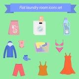 Pictogrammen op het thema van waskleren worden geplaatst, wasserij die Royalty-vrije Stock Fotografie