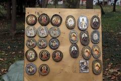 Pictogrammen op hout Royalty-vrije Stock Foto's