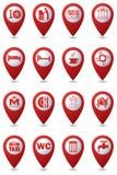 Pictogrammen op rode kaartwijzers die worden geplaatst Royalty-vrije Stock Fotografie