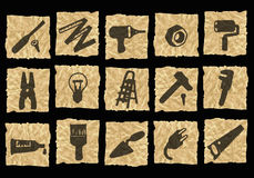 Pictogrammen op verfrommeld document Vector Illustratie