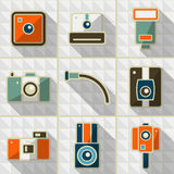 Pictogrammen retro camera Royalty-vrije Stock Foto's