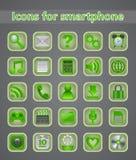 Pictogrammen in smartphone in schaduwen van groen Royalty-vrije Stock Afbeeldingen